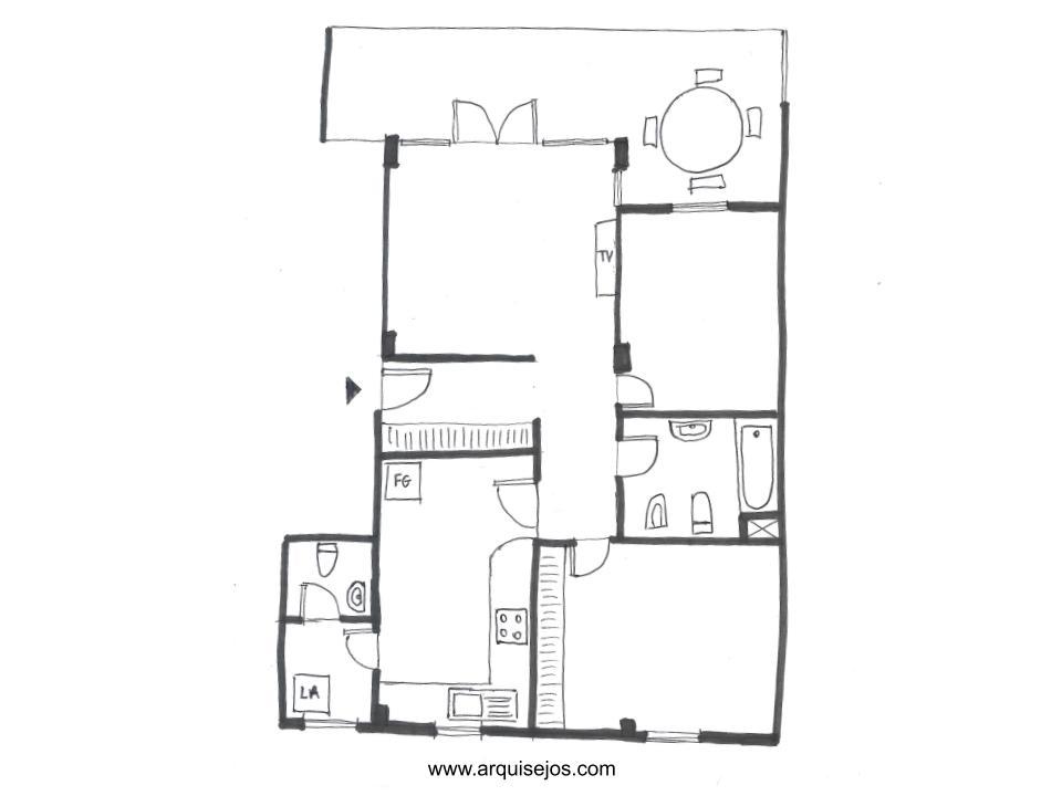 Croquis el primer tipo de plano de casas. Dibujo a mano alzada, bocetos de casas