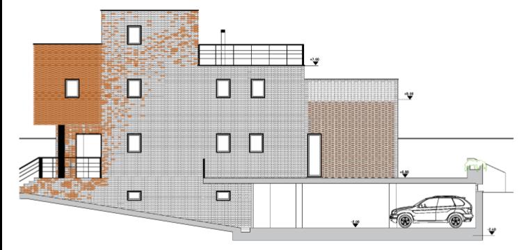 plano de alzado para determinar las fachadas del edificio