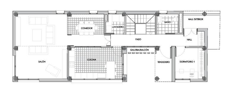 Plano de distribucion, planta baja vivienda unifamilliar