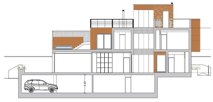 seccion longitudinal de la vivienda