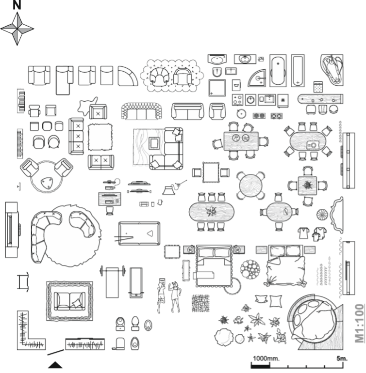 simbologia y muebles para planos a escala